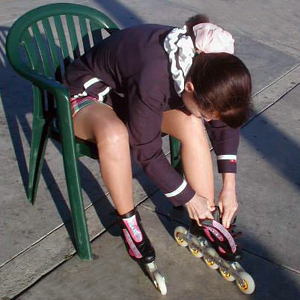 Kathie Lacing Up