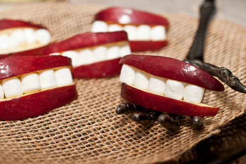 Halloween Apple Marshmallow Mouths