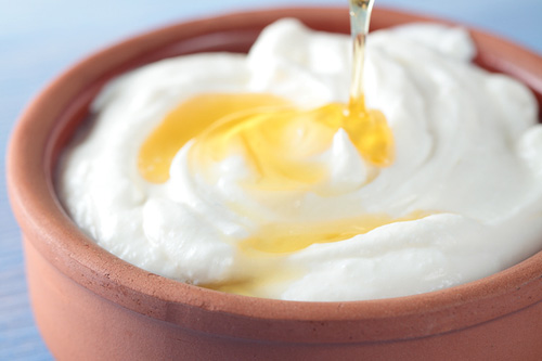 Yogurt with Honey in a Clay Bowl